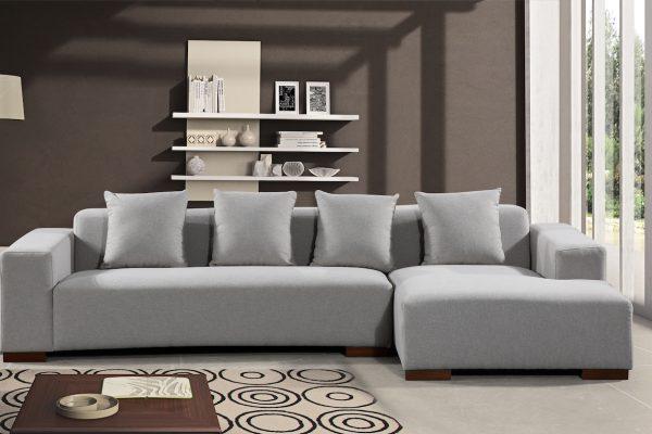 22354 Light Grey Fabric LYON Sectional Sofa by Velago