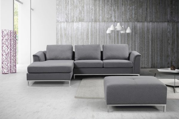 Indoor Dark Gray OLLON Fabric Sectional Sofa by Velago