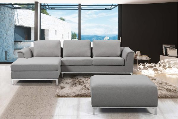 Indoor Light Gray OLLON Fabric Sectional Sofa by Velago
