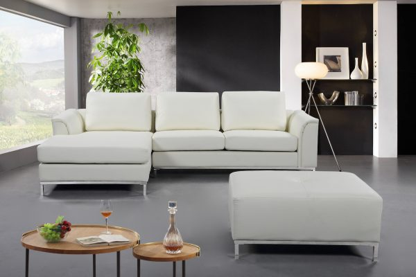 Indoor Cream Leather OLLON Sectional Sofa by Velago