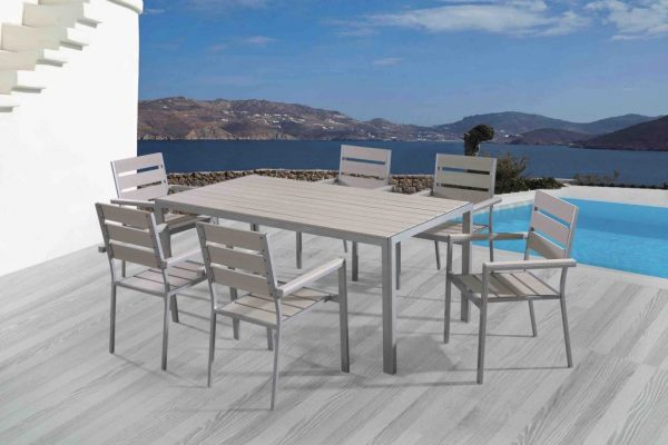 6 seat poly wood patio dining set VITTORE LG
