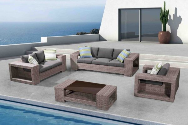 outdoor resin wicker conversation set with 3 seat sofa SOMEO